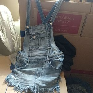 Almost famous criss cross back overalls